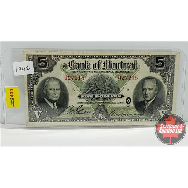 Bank of Montreal $5 Bill 1942 S/N#027215 (See Pics for Signatures/Serial Numbers)