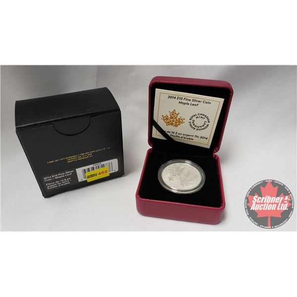 RCM 2014 $10 Fine Silver Coin : Maple Leaf (99.99%) (COA 9629/50000)