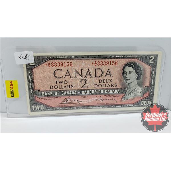 Canada $2 Bill 1954* Replacement : *AG3339156 Bouey/Rasminsky (See Pics for Signatures/Serial Number