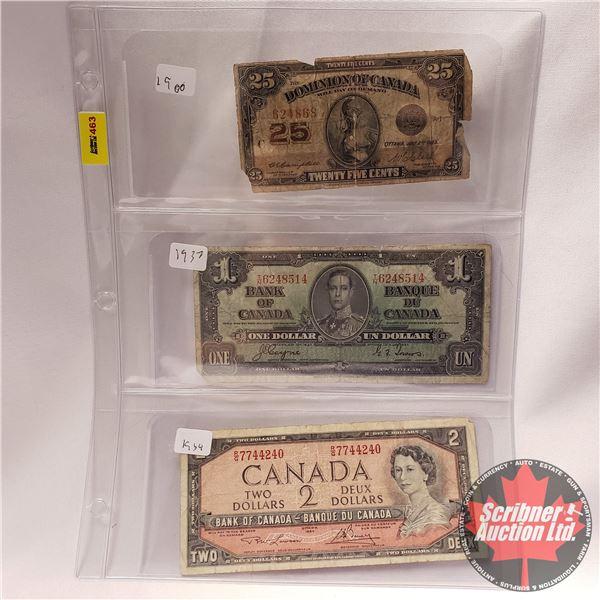 """Canada Bills (3) : 1923 Twenty Five Cent """"Shinplaster"""" ; 1937 $1 Bill ; 1954 $2 Bill (See Pics for S"""