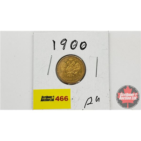 Russia 1900 Gold Coin : 5 Roubles (0.9000)