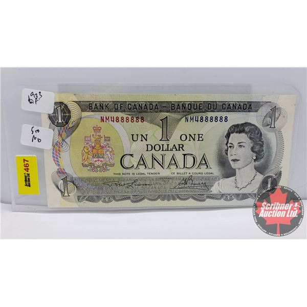 Canada $1 Bill 1973 (Note: 2 Digit S/N#NM4888888 Lawson/Bouey) (See Pics for Signatures/Serial Numbe
