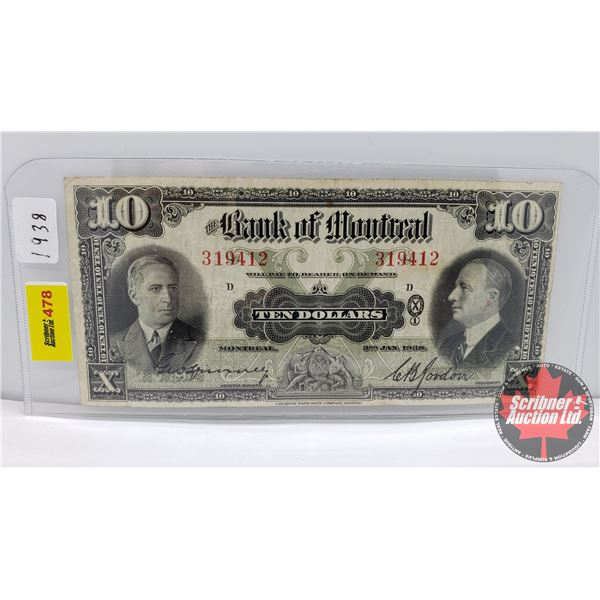 Bank of Montreal $10 Bill 1938 (See Pics for Signatures/Serial Numbers)