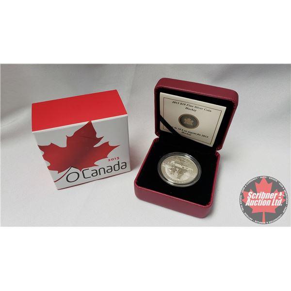 RCM 2013 Fine Silver $10 Coin : Hockey (99.99%) (COA 7747/40000)