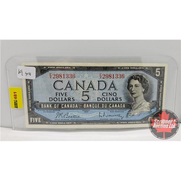 Canada $5 Bill 1954 (S/N#EX2981336 Beattie/Rasminsky) (See Pics for Signatures/Serial Numbers)