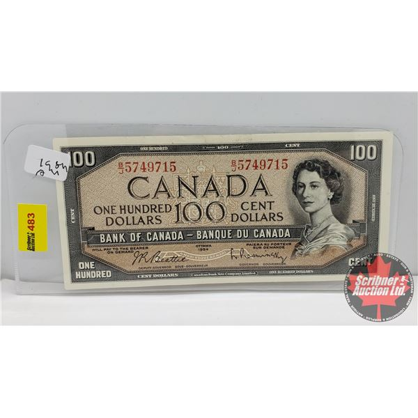 Canada $100 Bill 1954 (S/N#BJ5749715 Beattie/Rasminsky) (See Pics for Signatures/Serial Numbers)