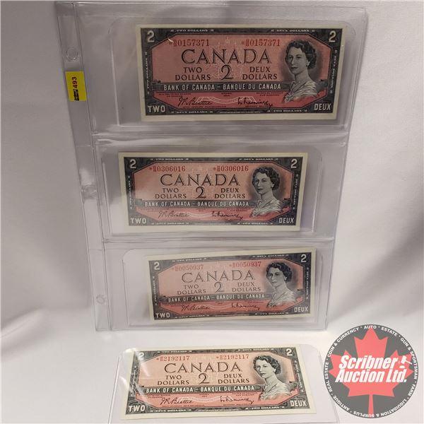 Canada $2 Bills 1954* Replacement (4) : Beattie/Rasminsky S/N#*BB0157371 ; *BB0306016 ; *BB0050937 ;