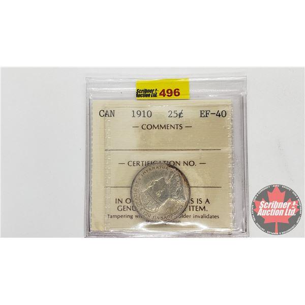 Canada Twenty Five Cent 1910 (ICCS Cert EF-40)