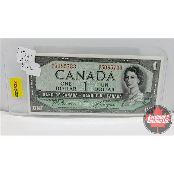 Canada $1 Bill 1954DF (S/N#MA5085733 Beattie/Coyne) (See Pics for Signatures/Serial Numbers)