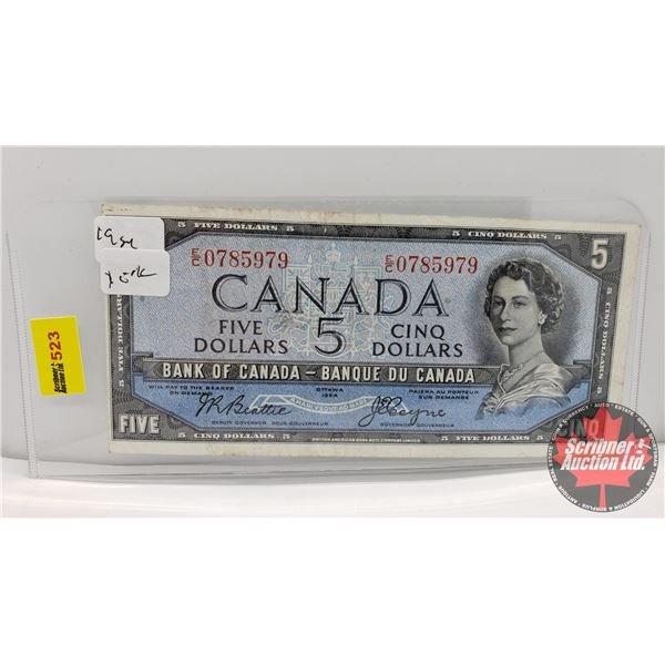 Canada $5 Bill 1954DF (S/N#EC0785979 Beattie/Coyne) (See Pics for Signatures/Serial Numbers)
