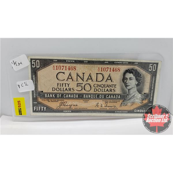 Canada $50 Bill 1954DF (S/N#AH1071468 Coyne/Towers) (See Pics for Signatures/Serial Numbers)