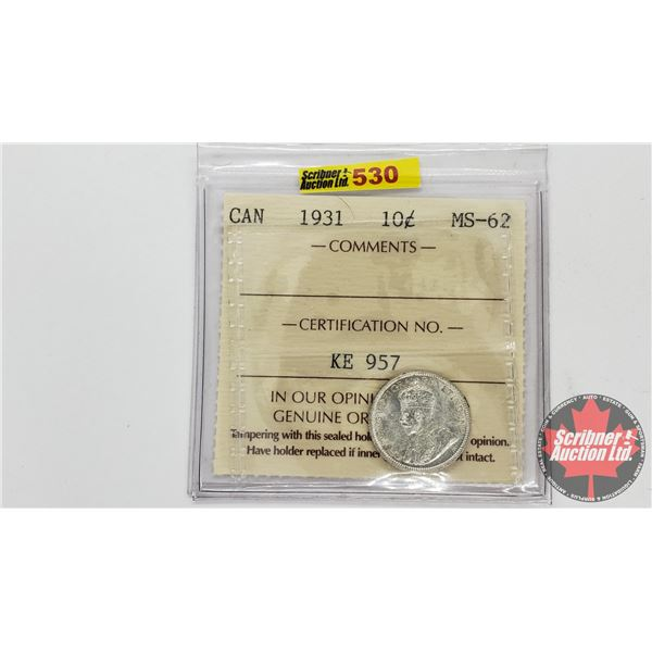 Canada Ten Cent 1931 (ICCS Cert MS-62)