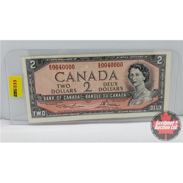 Canada $2 Bill 1954 (NOTE: 2 Digit S/N#SG0040000 Lawson/Bouey)
