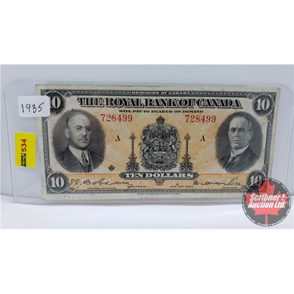 The Royal Bank of Canada $10 Bill 1935 (S/N#728499) (See Pics for Signatures/Serial Numbers)