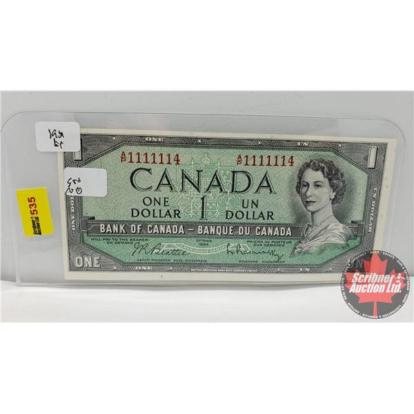 Canada $1 Bill 1954 (NOTE: 2 Digit S/N#AP1111114 Beattie/Rasminsky) (See Pics for Signatures/Serial