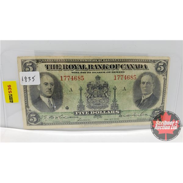 The Royal Bank of Canada $5 Bill 1935 (S/N#1774685) (See Pics for Signatures/Serial Numbers)