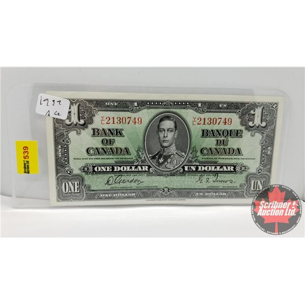 Canada $1 Bill 1937 (S/N#YL2130749 Gordon/Towers) (See Pics for Signatures/Serial Numbers)