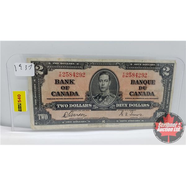 Canada $2 Bill 1937 (S/N#TB2584292 Gordon/Towers) (See Pics for Signatures/Serial Numbers)