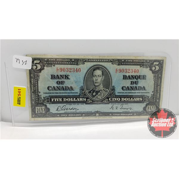 Canada $5 Bill 1937 (S/N#EC9032340 Gordon/Towers) (See Pics for Signatures/Serial Numbers)