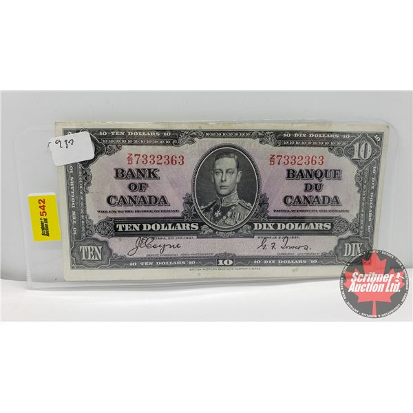 Canada $10 Bill 1937 (S/N#ZD7332363 Coyne/Towers) (See Pics for Signatures/Serial Numbers)