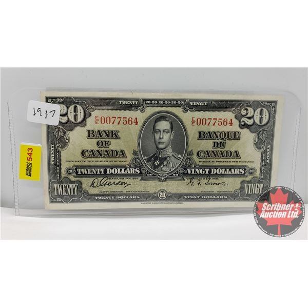 Canada $20 Bill 1937 (S/N#EE0077564 Gordon/Towers) (See Pics for Signatures/Serial Numbers)