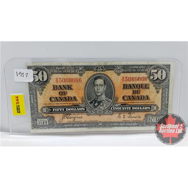 Canada $50 Bill 1937 (S/N#BH5069666 Coyne/Towers) (See Pics for Signatures/Serial Numbers)