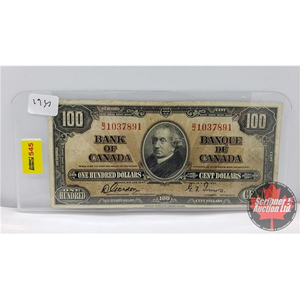 Canada $100 Bill 1937 (S/N#BJ1037891 Gordon/Towers) (See Pics for Signatures/Serial Numbers)