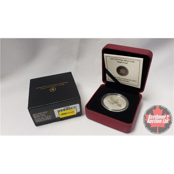 RCM 2013 Fine Silver $10 Coin : Maple Leaf (99.99%) (COA 43355/50000)