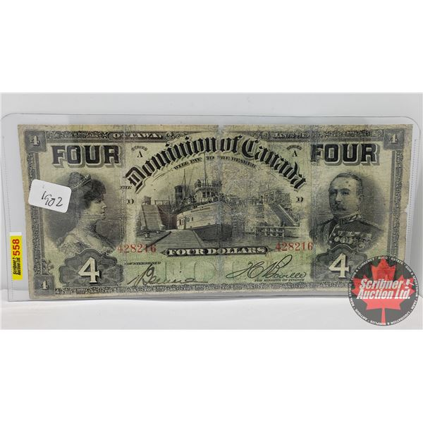 Dominion of Canada $4 Bill 1902 (S/N#428216 Boville) (See Pics for Signatures/Serial Numbers)