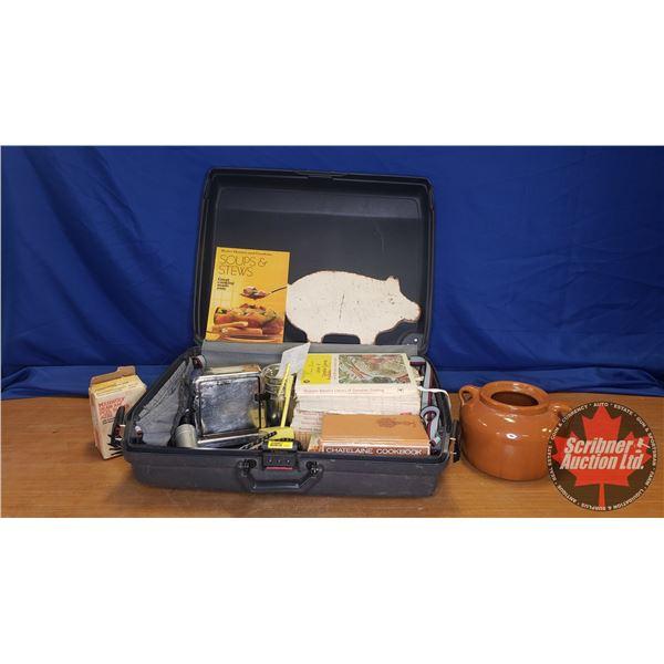 Combo Lot: Samsonite Suitcase w/Vintage Kitchen Items & Cook Books