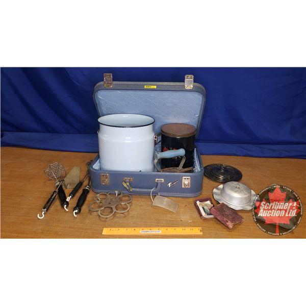 Combo Lot: Vintage Suitcase w/Enamelware, Iron, Kitchen, Utensils, etc