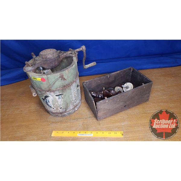 "Vintage Alaska Ice Cream Maker w/Insulators (12""H)"
