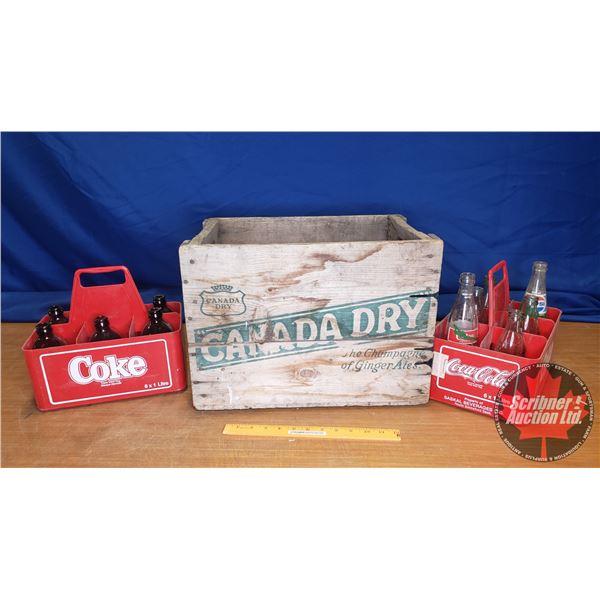 "Vintage Pop Bottles & Canada Dry Wooden Crate (13""H x 18""W x 12""D)"