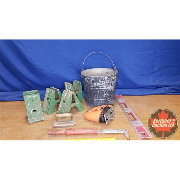 Contractors Combo: Jig Saw, Nail Puller, Saw Horse Brackets, Level, Edge Trowel, Bucket