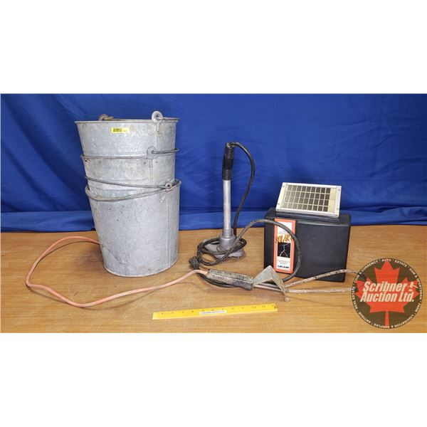 Ranchers Combo: Galvanized Pails, Solar Fence Controller & Portable Water Heaters