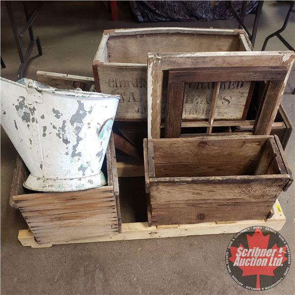 Pallet Lot: Antique Wooden Crates, Window Frames, etc