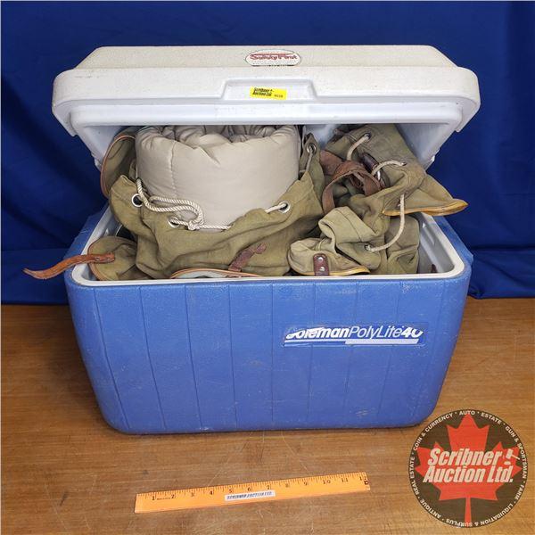"Canvas Pack Sack (2) & Sleeping Bag & Coleman Cooler (Cooler Size: 15""H x 20""W x 13""D)"