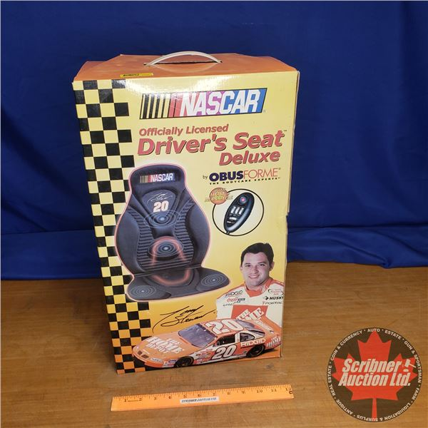 """""""NASCAR"""" Driver's Seat Deluxe Car Seat Pad w/Heat & Massage (Never Used)"""