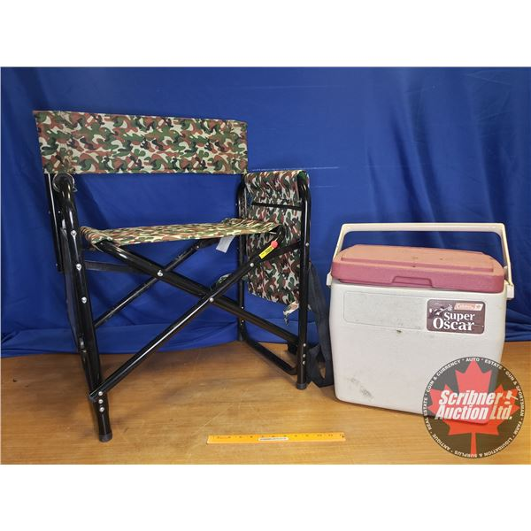 "Coleman ""Super Oscar"" Cooler w/Camo Lawn Chair w/Side Table"