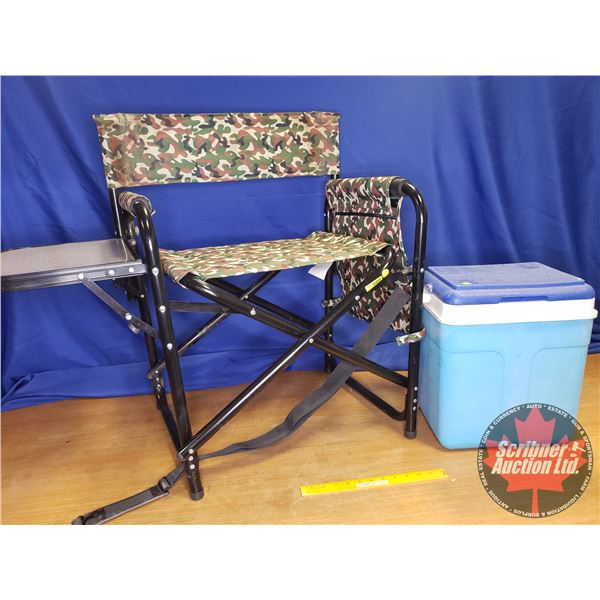 Flair Cooler w/Camo Lawn Chair w/Side Table