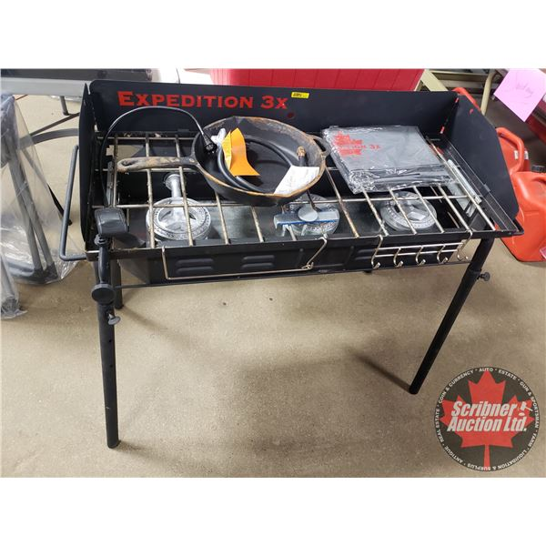 Expedition 3x Propane Shore Lunch Cook Stove with Cast Iron Frying Pan (Never Used but some rust on