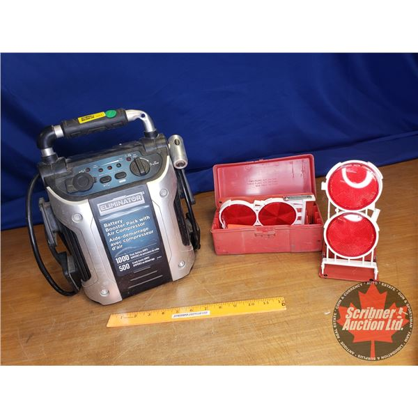 Eliminator Battery Booster Pack with Air Compressor & Road Side Flare Kit