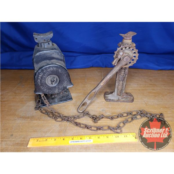 """Tray Lot: Antique """"Weed Chain Jack"""" & Gear Jack"""