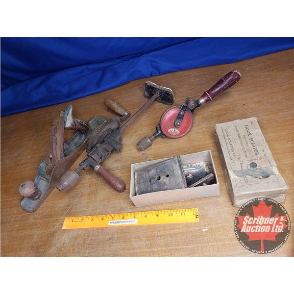 Tray Lot: Antique Tools (Drills (2), Wood Plane & Hook Scraper)
