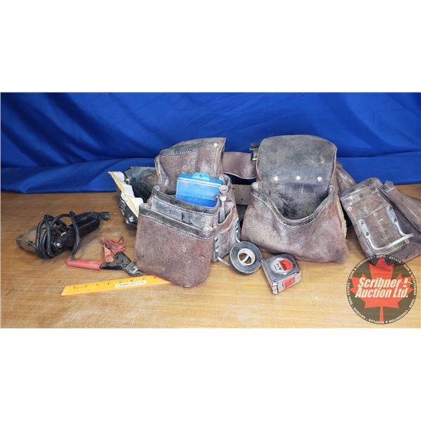 Carpenter's Combo: Leather Tool Belt, Black & Decker 3/8 Drill, Knee Pads, Side Cutters & Small Plas