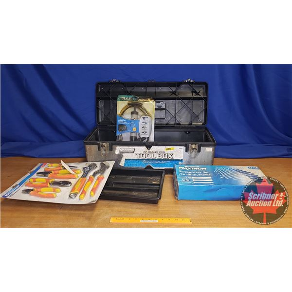 "Tool Box Combo: Coleman 26"" Brushed Steel Tool Box, Mastercraft Pliers & Wrench Set, Mastercraft Max"