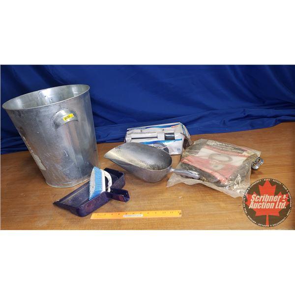 Combo: Metal Trash Can, 20pc Screwdriver Set (never used), Alum. Scoop, Washing Machine Hoses, Scrub