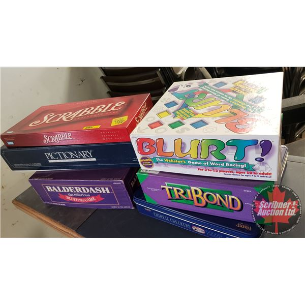 Variety of Board Games (6) (Incl: Scrabble, Chinese Checkers, Pictionary, Blurt, etc)