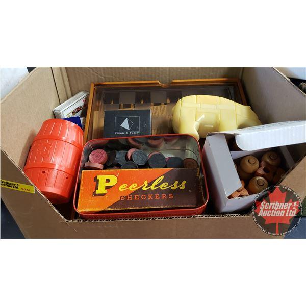 Box Lot: Games (Incl: Checkers, Backgammon, Barrel of Monkey's, etc)