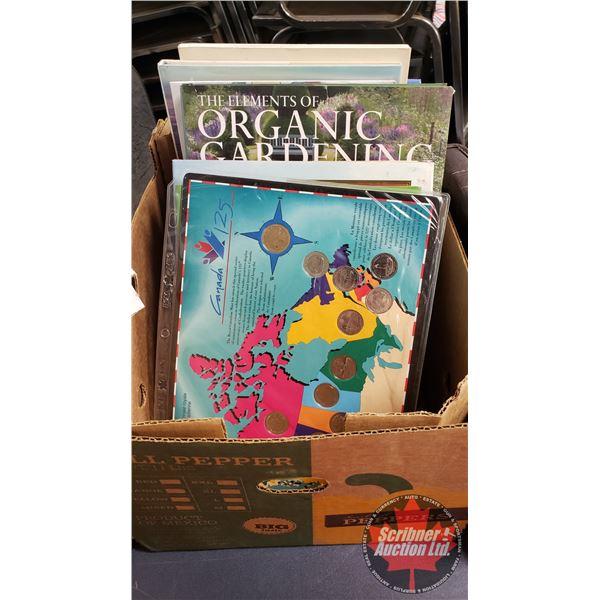 Box Lot: Hard Cover Books about Costa Rica, Gardening, Children's Books & Canada 125 Quarter Set fro